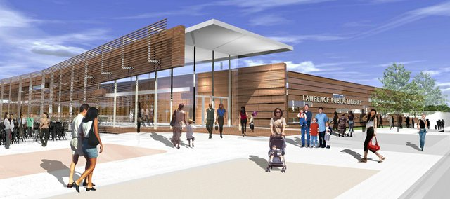 Rendering of Lawrence Public Library entry on the south side. This view shows the southeast corner looking to the northwest.