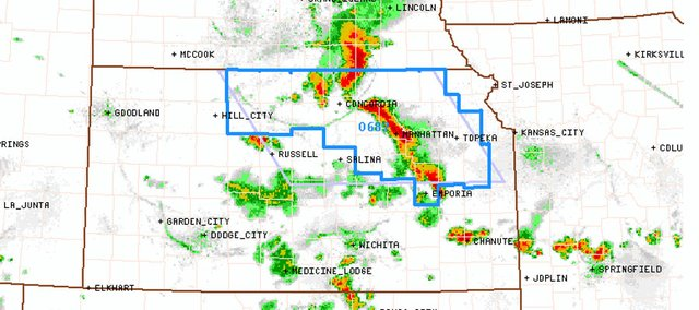 The National Weather Service has issued a severe thunderstorm watch for parts of northern and eastern Kansas, including Douglas County, until 1 a.m. Monday.