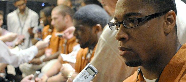 Texas linebacker Keenan Robinson answers questions during NCAA college football Big 12 Media Days, Monday, July 25, 201