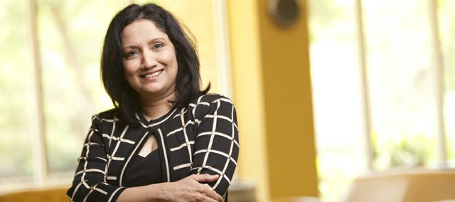 Neeli Bendapudi, the new dean of the Kansas University School of Business is pictured Wednesday, July 27, 2011, in Summerfield Hall. Bendapudi came to KU from Ohio State University, where she served as a professor of marketing.