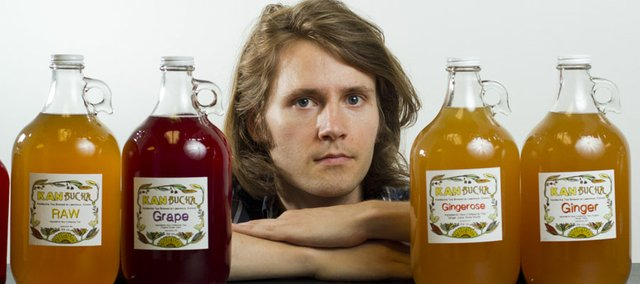 Two years ago Lawrence resident Elliot Pees began making kombucha, a fermented tea touted for its possible health benefits. The tea, which Pees calls KANbucha, is available for purchase at The Merc, 901 S. Iowa.