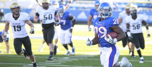Kansas running back James Sims runs in the go-ahead touchdown against Colorado. Sims enters the 2011 season as one of KU's top big-play threats.