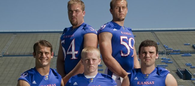 Kansas University special teams players are, Back row, from left: long snappers Justin Carnes and Tanner Gibas; front row, from left, punter Victor McBride, and kickers Alex Mueller and Ron Doherty.