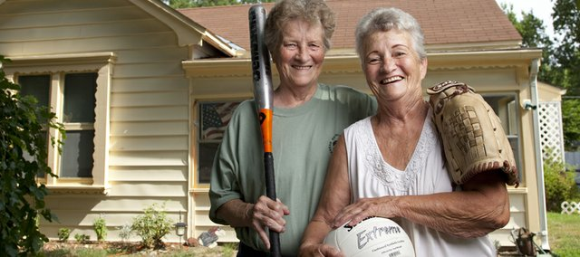Sisters Mary Jo Elston, 77, right, and Imogene Kilgore, 72, have been involved in sports for decades. Up until recently, the two played on city rec league softball teams together, but Mary Jo continues to coach Imogene and other ladies who still play.