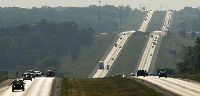 Evening rush hour traffic on Kansas Highway 10 on Thursday, Aug. 18, 2011.