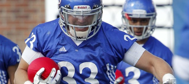 Kansas University's Nick Sizemore participates in a drill in this 2011 file photo from spring practices.