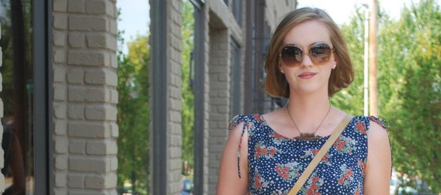 Clothing Details: Shoes: DSW, March 2010, $60. Dress: Kieu's, April 2011, $25. Necklace: Unhinged Jewelry by Katy Clagett, July 2011, $25. Glasses: Ray-Ban, May 2011, $150. Purse: Kohl's, August 2011, $30.