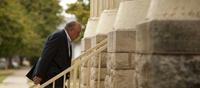 John Hadl makes his way up the stairs upon arrival at the funeral for former Kansas University coach, player and longtime supporter Don Fambrough, on Friday, Sept. 9, 2011 at First Christian Church, 1000 Kentucky.