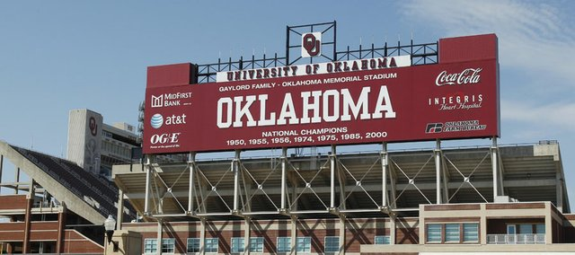 The Gaylord Family Memorial Stadium stands in Norman, Okla., Monday, Sept. 12, 2011. A person with knowledge of the situation says Texas and Oklahoma officials met over the weekend amid speculation that the Sooners are considering leaving the Big 12.