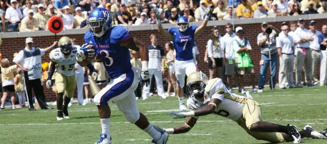 Kansas running back Darrian Miller scores against Georgia Tech on Saturday, Sept. 17, 2011 in Atlanta.