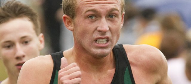 Free State's Kain Anderson competes in the Baldwin Invitational. Anderson finished second overall in 16:02.28 in the 5K race. The Free State boys placed third on Saturday in Baldwin.