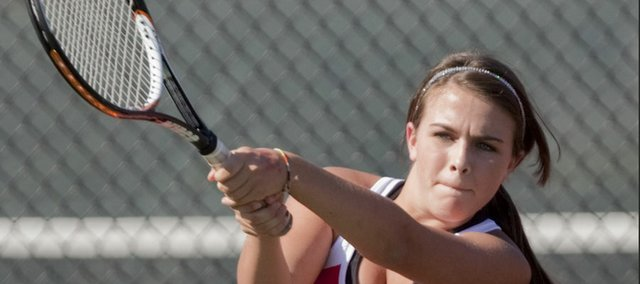 Kendal Pritchard, Lawrence Highs No. 2 singles player, competes during a Lawrence High quad Monday at LHS.