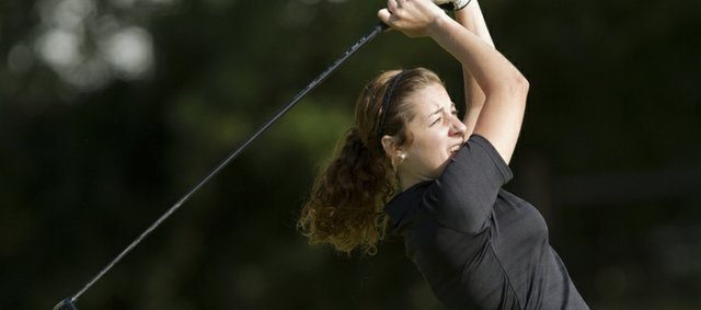Free State high school golfer Madison Brumley tees off during the Lawrence High school invitational golf tournament Thursday, Sept. 22, at Alvamar golf course.