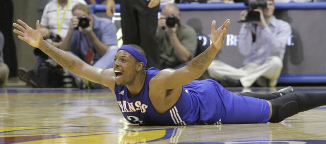 Paul Pierce ends up on the floor during the Legends of the Phog game Saturday, Sept. 24, 2011 at Allen Fieldhouse.