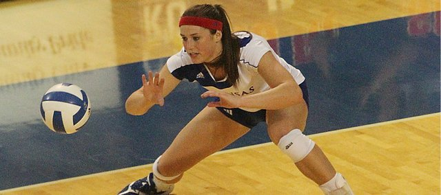 Kansas setter Kara Wehrs gets low for a return against Nebraska-Omaha on Tuesday, Oct. 4, 2011 at Horejsi Family Athletic Center.