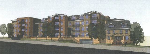 Renderings of a proposed apartment development at 1043 Indiana Street. The project would incorporate the old Varsity House property, shown on the right edge of the rendering, and add new apartment units.