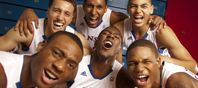 The Kansas newcomers clockwise from front are Naadir Tharpe, Christian Garrett, Kevin Young, Merv Lindsay, Ben McLemore and Jamari Traylor.
