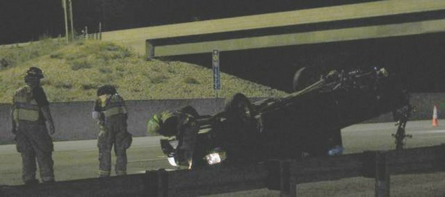 An injury accident occurred on I-70 westbound, just before the Lecompton interchange at about 1 a.m. Monday. At least one person was transported to Lawrence Memorial Hospital by helicopter from the scene.