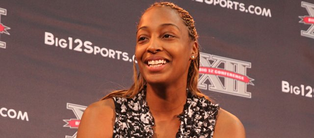 Carolyn Davis answers questions during Big 12 Media Day on Wednesday, Oct. 19, 2011 at the Sprint Center.