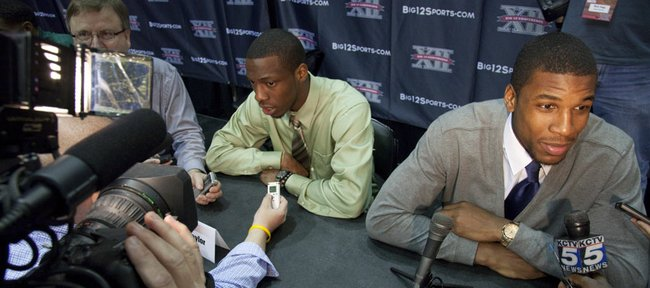 Tyshawn Taylor and Thomas Robinson take their turn at the one-on-one session with reporters on Thursday, Oct. 20, 2011, at the Big 12 men's basketball media day at the Sprint Center.