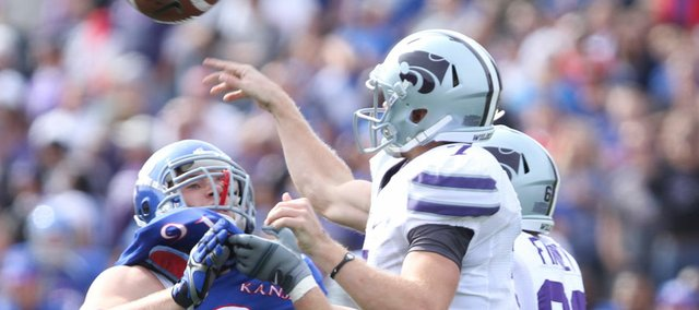 Kansas defensive end Pat Lewandowski can't reach Kansas State quarterback Collin Klein during the second quarter on Saturday, Oct. 22, 2011 at Kivisto Field.
