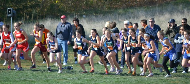 Seabury's girls cross country team takes off at the Class 1A state meet Saturday, Oct. 29, 2011, in Wamego.