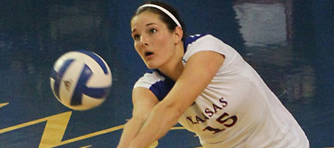 Kansas senior Allison Mayfield sets against Missouri on Wednesday, Nov. 2, 2011 at Horejsi Center.