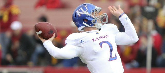 Kansas quarterback Jordan Webb throws during warmups prior to kickoff against Iowa State on Saturday, Nov. 5, 2011 at Jack Trice Stadium in Ames, Iowa.