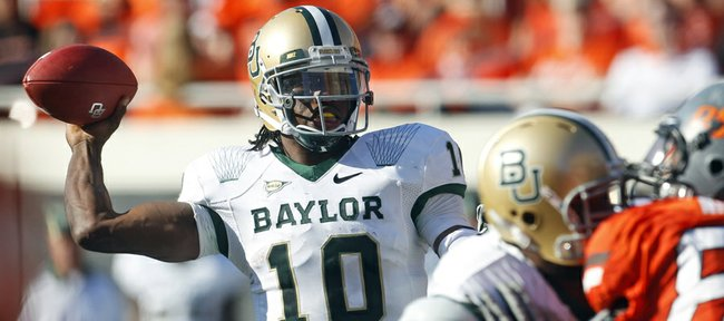 Baylor quarterback Robert Griffin III (10) against Oklahoma State in the second quarter of an NCAA college football game in Stillwater, Okla., Saturday, Oct. 29, 2011.