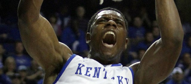 Kentucky's Terrence Jones dunks during the first half of a college basketball exhibition game against Morehouse in Lexington, Ky., on Monday, Nov. 7, 2011.