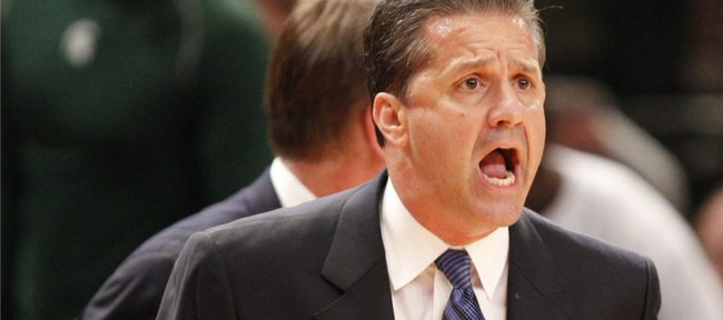 Kentucky head coach John Calipari rips into his players during the first half on Tuesday, Nov. 15, 2011 at Madison Square Garden in New York.