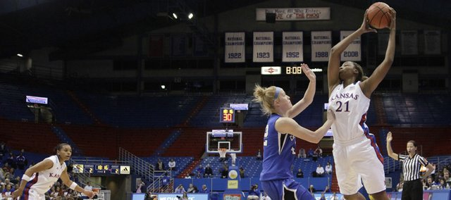 Carolyn Davis returned to the Jayhawks' lineup after a stress fracture in her right foot kept her on the bench for the first game of the season. KU defeated Creighton, 73-59, on Wednesday.