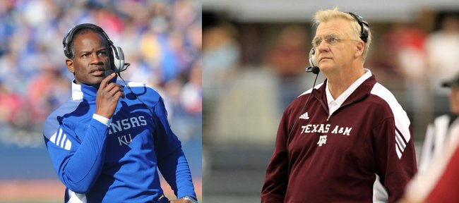 Kansas University coach Turner Gill, left, and Texas A&M coach Mike Sherman, right, worked together with the Green Bay Packers in 2005 and will coach against each other as the Jayhawks take on the Aggies on Saturday in College Station, Texas.