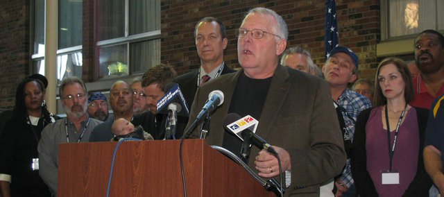 Terry Forsyth, president of the Working Kansas Alliance, speaks Friday during news conference announcing formation of the group.