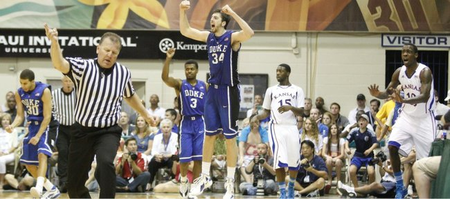 The Blue Devils celebrate after a turnover out of bounds by Kansas guard Tyshawn Taylor late in the second half on Wednesday, Nov. 23, 2011 at the Lahaina Civic Center.