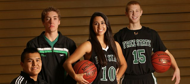 Richard Gwin/Journal World-Photo.Free State's Winter Sports Preview from left, wrestling  Marcus Bones, Boys swimming Noah Benham, Girls Basketball Jackie Garcia, Boys basketball Brett Frantz.