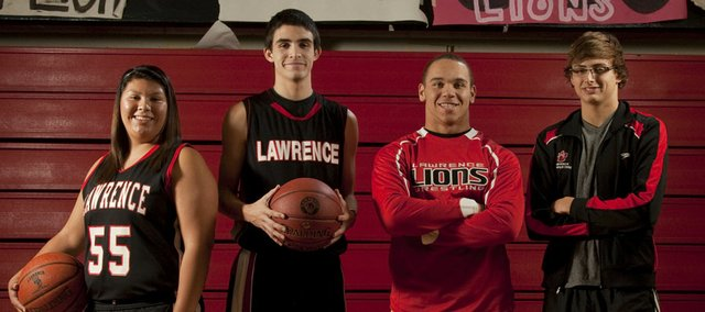 Lawrence High School winter sports preview. From left: Brianna Anglin, girls basketball; K.J. Pritchard, boys basketball; Reece Wright-Conklin, wrestling; and Zach Andregg, boys swimming.