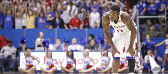 Kansas forward Thomas Robinson catches his breath during a couple of Jayhawk free throws in the second half against Florida Atlantic on Wednesday, Nov. 30, 2011 at Allen Fieldhouse.