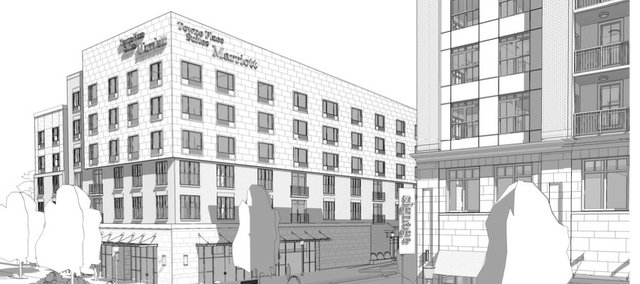 City commissioners are considering a proposed hotel at Ninth and New Hampshire streets. This is a rendering of the project, viewed from the northwest.