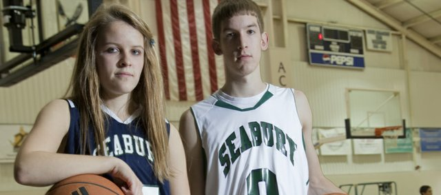 Bishop Seabury Academy senior basketball players Alyson Oliver and Jesse May hope to lead their teams to successful seasons this winter.