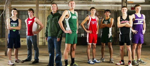 The 2011 Lawrence Journal-World All-Area boys cross country team, from left: Brandon McCaffrey, Seabury; Patrick Rachford, Tonganoxie; coach Chris McAfee, De Soto; Kain Anderson, Free State; Dawson Colglazier, Santa Fe Trail; Angel Vasquez, De Soto; Gavin Fischer, Lawrence High; Ethan Hartzell, Baldwin.