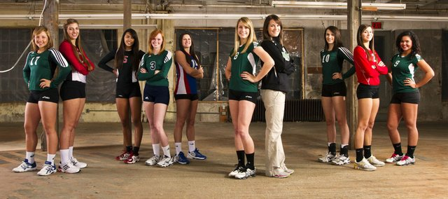 The 2011 Lawrence Journal-World All-Area volleyball team, from left: Katy Davis, Free State; Maggie Bones, Ottawa; Caitlin Broadwell, Lawrence; Charlotte Burch, Seabury; Kristin Patton, Wellsville; Becca Maasen, De Soto; coach Lindsay Hothan, De Soto; Shelby Holmes, Free State; Jenny Whitledge, Tonganoxie; Danielle Dowdy, De Soto.
