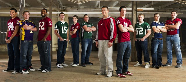 The 2011 Lawrence Journal-World All-Area football team. From left, Anthony Buffalomeat, Lawrence High, Shawn Dailey, McLouth, Sean Thomas, Lawrence High, Kyle McFarland, Free State, Derek Webb, Eudora, Hayden Chandler, De Soto, Gregg Webb, Eudora, Brad Strauss, Lawrence High, Cody Stanclift, Free State, Nick Bennett, Veritas Christian, Greg Snell, Eudora.