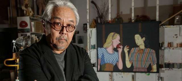 "Retired Kansas University professor Roger Shimomura spent part of his childhood in interment camps after the bombing of Pearl Harbor. Behind him is one of several paintings he's done from his experiences in the camps, entitled ""Classmates."""
