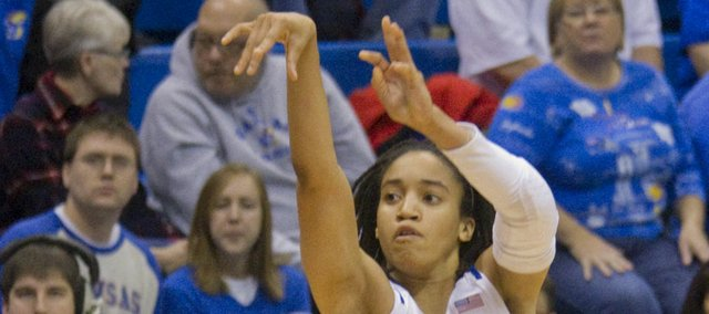 Kansas' Keena Mays puts up a shot in KU's victory over Wisconsin Thursday, Dec. 8, 2011, at Allen Fieldhouse.