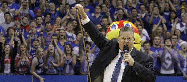 Newly appointed Kansas University head football coach Charlie Weis is introduced at halftime of KU's men's basketball game against Ohio State on Saturday, Dec. 10, 2011 at Allen Fieldh