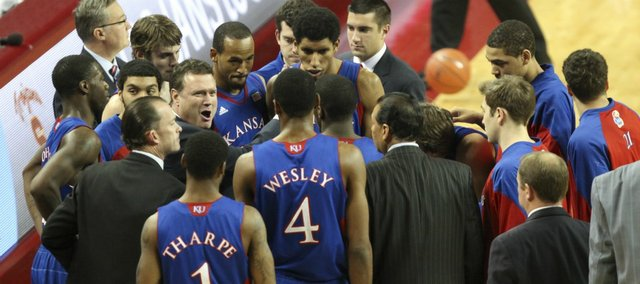 Kansas head coach Bill Self has some excited words for the Jayhawks during a timeout in the second half on Thursday, Dec. 22, 2011 at the Galen Center.