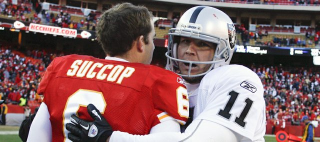 Kansas City Chiefs kicker Ryan Succop (6) and Oakland Raiders kicker Sebastian Janikowski meet on the field after the Raiders' 16-13 overtime victory on Saturday, Dec. 24 in Kansas City, Mo.