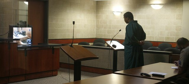 Major C. Edwards Jr., of Lawrence, makes his first court appearance in May 2008 at the Douglas County Jail in the case of the 2006 shooting of Anthony Vital. Edwards was charged with premeditated first-degree murder but in March 2010 pleaded guilty to voluntary manslaughter in a plea deal that would shave four years from his prison sentence in exchange for his testimony against his co-defendant at the time, Durrell Jones, 24, of Kansas City, Kan. He is now scheduled to be sentenced on Tuesday.