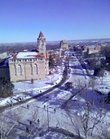 This user-submitted photo from Kelli Morgan shows a snowy Kansas University campus from the top floor of Fraser Hall.